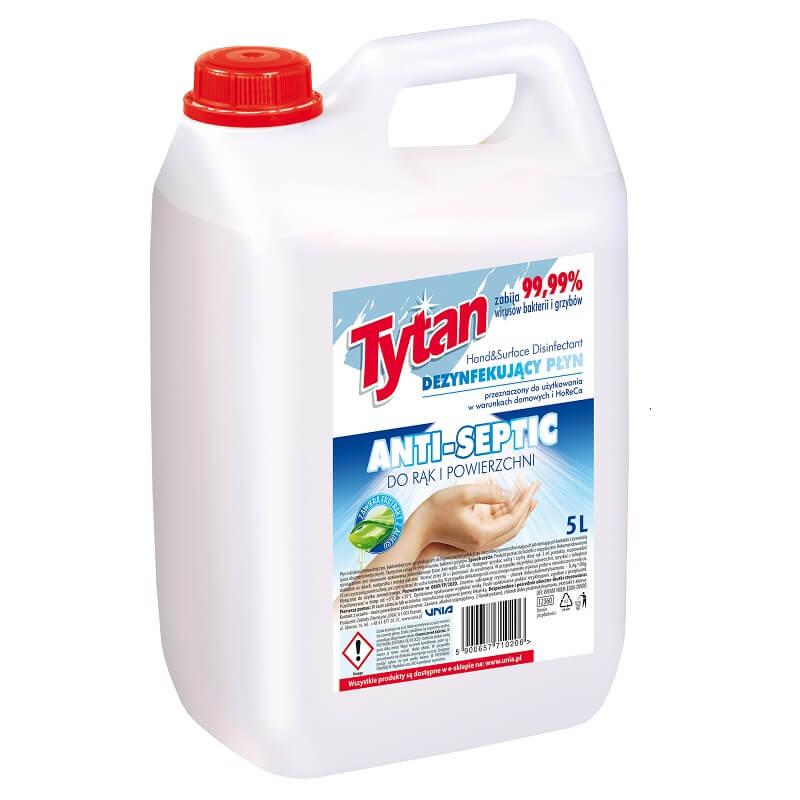 Antywirusowy, antybakteryjny, wirusobójczy, bakteriobójczy dezynfekujący płyn do rąk i powierchni Tytan Anti-septic 5,0L